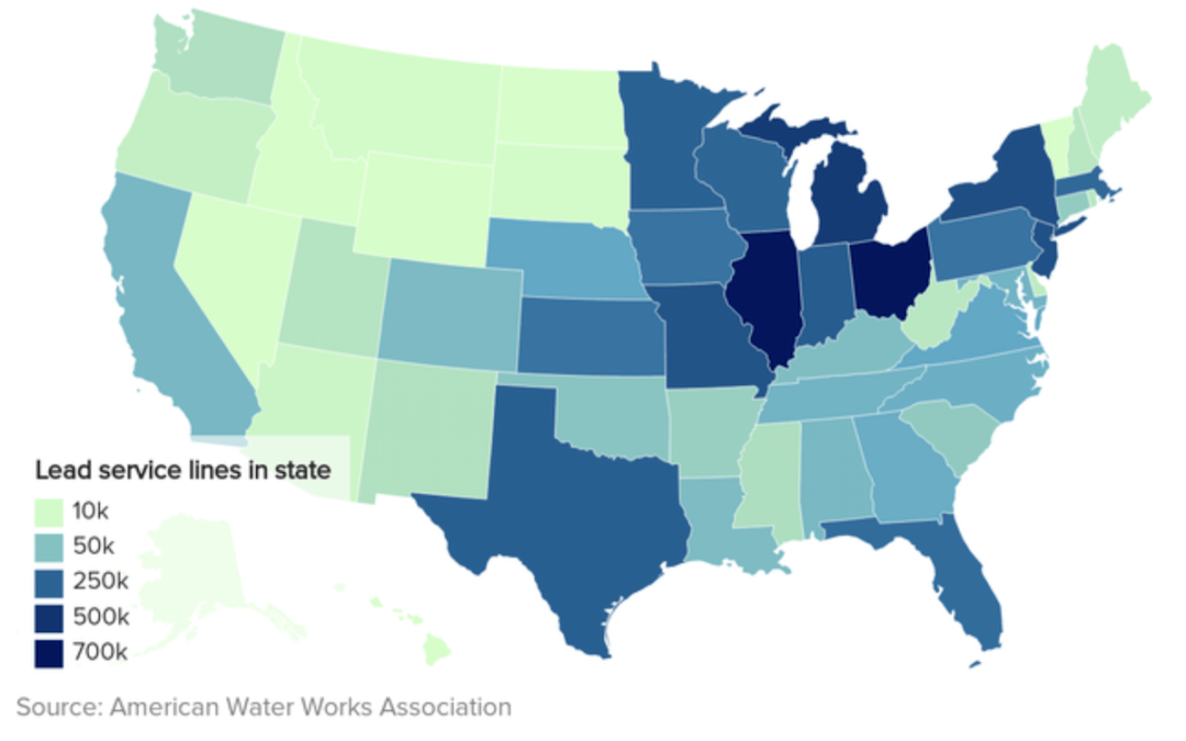 Lead water lines across the United States